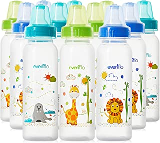 Evenflo Feeding Classic Prints Polypropylene Bottles for Baby, Infant and Newborn - Blue/Green/Orange, 8 Ounce (Pack of 12)