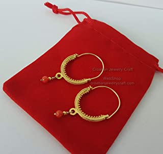 Croatian Filigree Hoop Earrings, 24k Gold Plated Hoop Earrings, Red Coral Dangle Hoops, Wedding Earrings *Exp Shipping