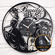 Beauty and The Beast Vinyl Wall Clock Disney Vinyl Art Kids Room Decor Home Decorations Lovely Black Record Vinyl Clock Gift for Girls and Boys Vintage Wall Decoration Unique Art Design Black