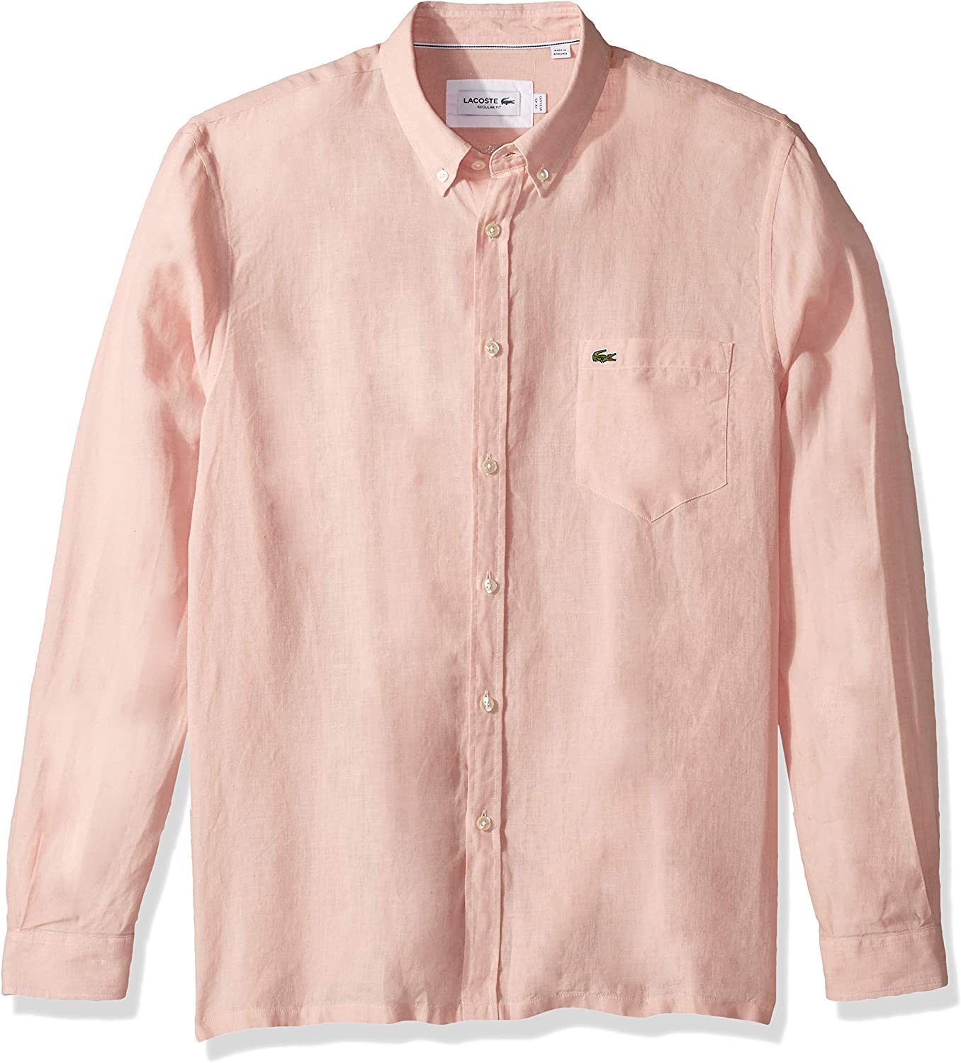 Lacoste Men's Long Special Campaign Sleeve Regular Fit Sh Solid Button Linen Max 44% OFF Down