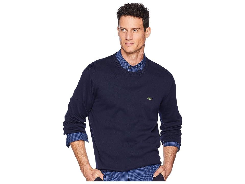 Lacoste Long Sleeve Half Moon Crew Neck Jersey Sweater (Navy Blue/Flour/Navy Blue) Men