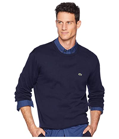 Lacoste Long Sleeve Half Moon Crew Neck Jersey Sweater (Navy Blue/Flour/Navy Blue) Men