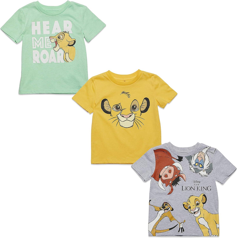 Disney The Lion King 3 Pack Short Sleeve T-Shirts Grey/Green/Yellow