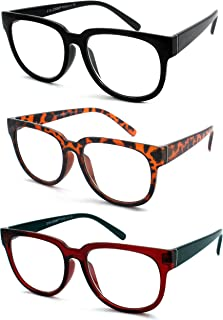 EYE ZOOM 3 Pairs Ladies Popular Style Readers Large Frame Retro Reading Glasses for Women, Black, Brown Tortoise and Red, Strength: +1.50