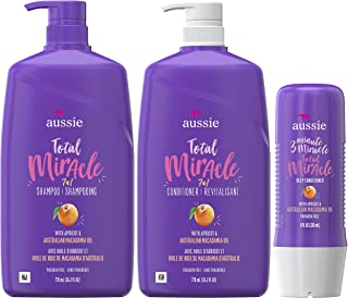 Aussie Total Miracle Shampoo, Conditioner and 3 Minute Miracle Deep Conditioner Hair Treatment Bundle, Infused with Apricot and Australian Macadamia Oil, Paraben Free