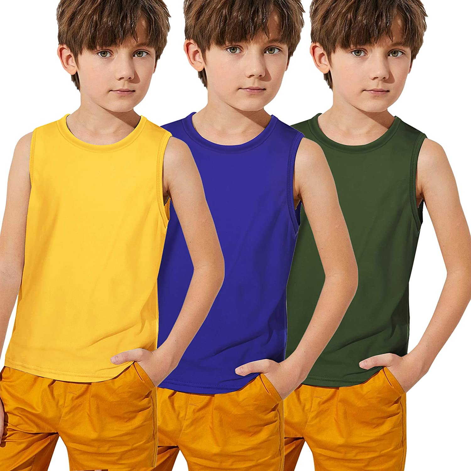 Boyoo Low price Tulsa Mall Big Boys 3 Pack Active Moisture Youth Tank At Tops Wicking