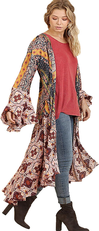 Umgee Womens Ruffled Long 当店一番人気 Body Multicolored お値打ち価格で Kimono with a Print