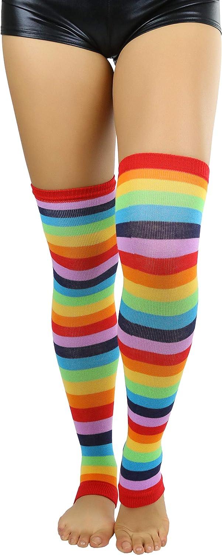 ToBeInStyle Women's Acrylic Horizontal Stripes Knee Hi Leg Warmer