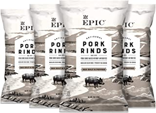 EPIC Sea Salt & Pepper Pork Rinds, Low-Carb, 4 Count Box 2.5oz bags