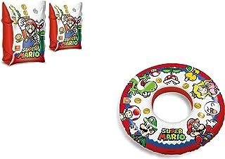 JOVAL -Set Infantil para Piscina de Super Mario Bros. Flotador y Manguitos. Buen Vinilo, Resistente al Agua y Rayos UV. con válvulas de Seguridad para la máxima Seguridad.