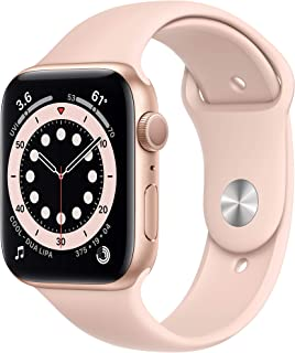 New AppleWatch Series 6 (GPS, 44mm) - Gold Aluminum Case with Pink Sand Sport Band
