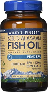 Wiley's Finest Wild Alaskan Fish Oil - 3X Triple Strength Peak EPA DHA, 1000mg Omega-3s, NSF-Certified, 60 Softgels