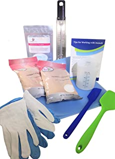 Isomalt Sugar Work Starter Kit - Silicone Mat, Measuring Cup, Spatulas, Isomalt Crystals, Desiccant, Thermometer, Gloves - 9 Items Perfect for Working with Isomalt
