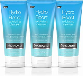 Neutrogena Hydro Boost Gentle Exfoliating Facial Cleanser with Hyaluronic Acid, Non-Comedogenic Oil-, Soap- & Paraben-Free Daily Face Wash, 5 Ounce, Pack of 3