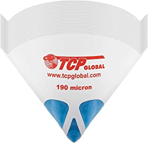 TCP Global 50 Pack of Paint Strainers with Fine 190 Micron Filter Tips - Premium