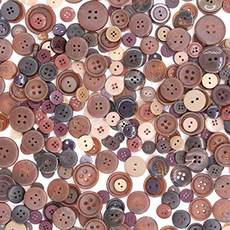 Sewing DIY Crafts Esoca 650Pcs Brown Buttons for Crafts Basic Art Buttons Assorted Sizes Brown Craft Buttons for Arts Decoration
