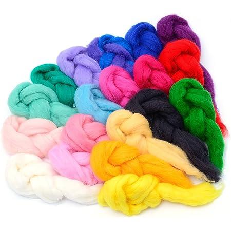 Rainbow 8 Grams Each Color Rainbow Series Needle Felting Wool Set of 12 Colors