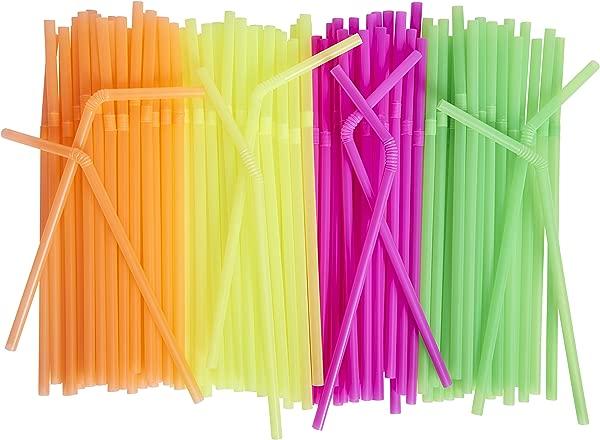500 包霓虹色吸管灵活一次性儿童友好各种颜色