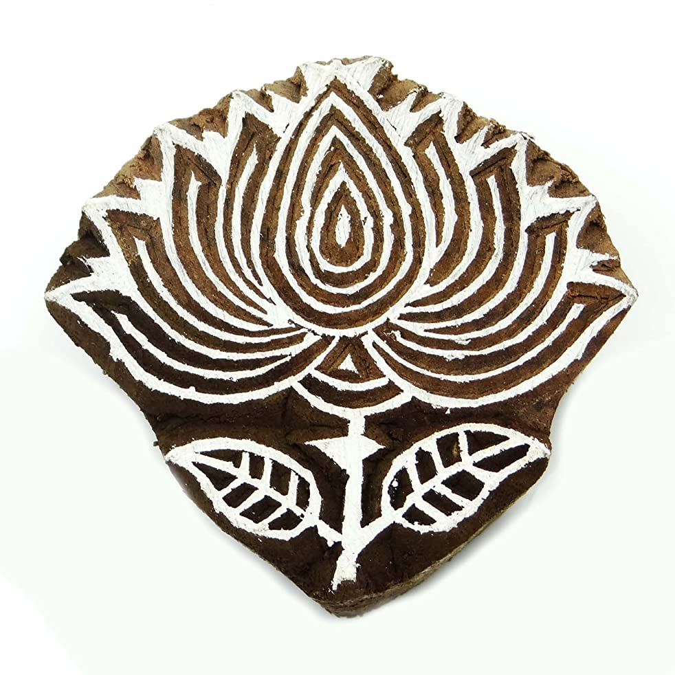 Lotus Wooden Decorative Block Carved Textile Stamp Collectible Blocks