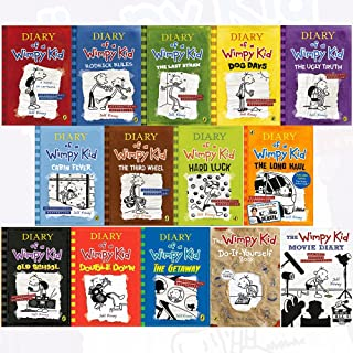 diary of a wimpy kid collection 14 books set by jeff kinney (diary of a wimpy kid,rodrick rules,the last straw,dog days,th...