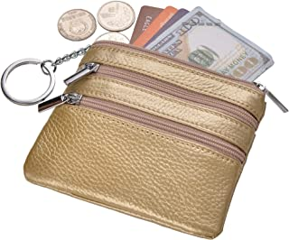 Yeeasy Womens Mini Coin Purse Wallet Genuine Leather Zip Pouch Keychain Ring
