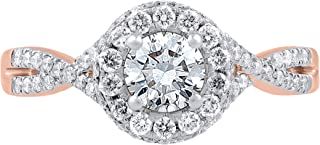 TJD 14K Gold 1.00 Carat (H-I Color, I1-I2 Clarity) Designer Diamond Ring for Women