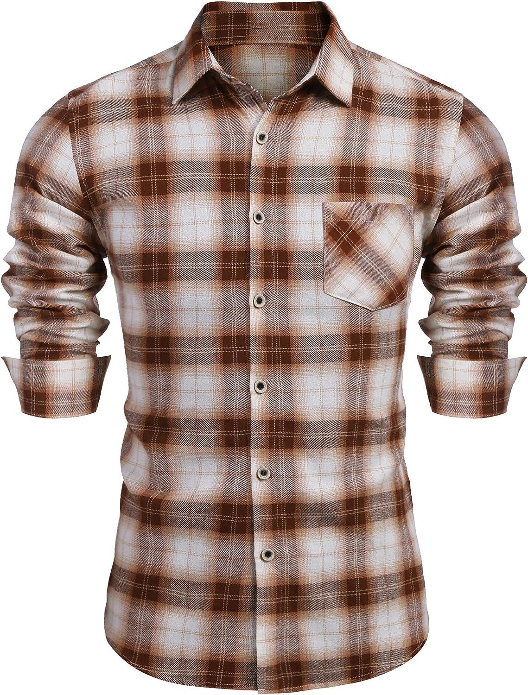 COOFANDY Men's Cotton Plaid Shirt Casual Button Down Long Sleeves Dress Shirts