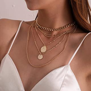 YERTTER Vintage Punk Coin Pendant Neckalce Chunky Choker Boho Jewelry Chain for Women and Girls (Gold)