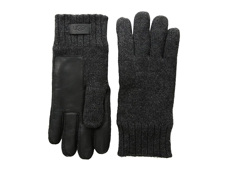UGG Knit Gloves with Conductive Leather Palm (Graphite Heather) Extreme Cold Weather Gloves