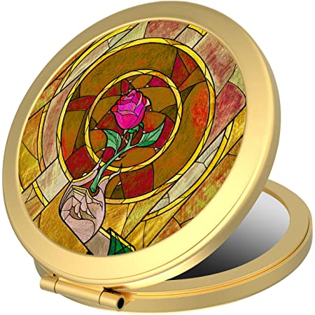 Disney Stores Minnie Mouse Signature Glass Compact Mirror Gold New In Box