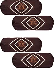 HSR Collection Embroidered Cotton Bolster Round Pillow Covers (Pack of 4, Coffee)