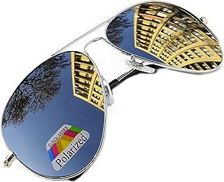 MFAZ Morefaz Ltd - Hombre Mujer Polarizado Gafas De Sol Estilo Piloto Silver Black (Silver)