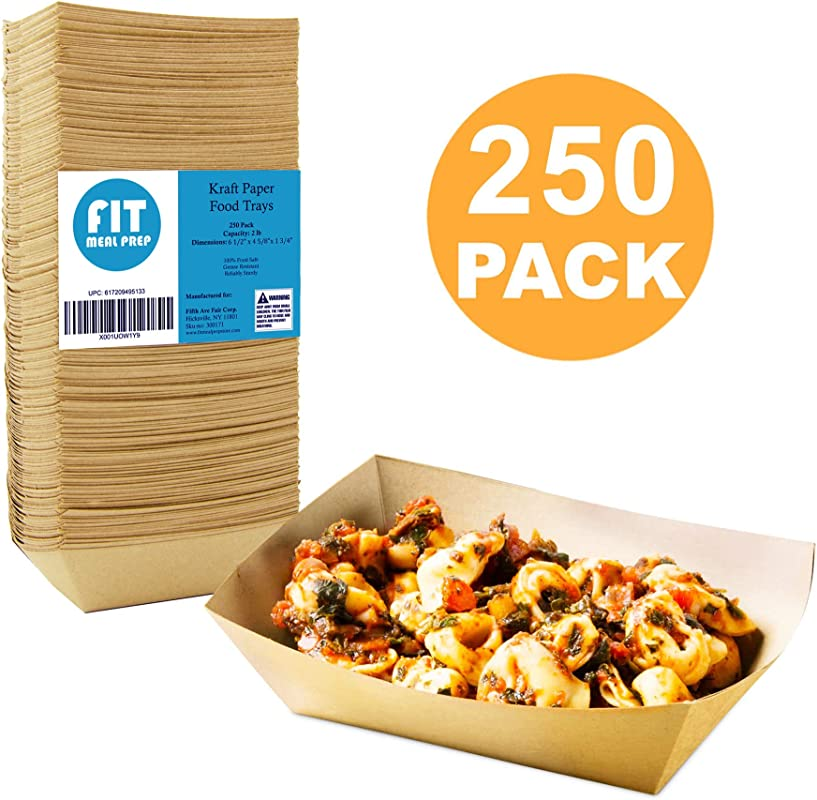 250 Pack 2 Lb Heavy Duty Disposable Kraft Brown Paper Food Trays Grease Resistant Fast Food Paperboard Boat Basket For Parties Fairs Picnics Carnivals Holds Tacos Nachos Fries Hot Corn Dogs