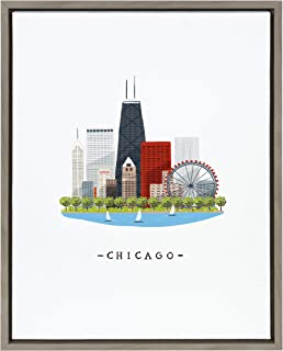 Kate and Laurel Sylvie Chicago Skyline Illustration Framed Canvas Wall Art by Maja Tomljanovic, 18x24 Gray, Bohemian Citys...