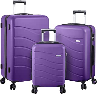 Luggage Set Hard Shell With Spinner Goodyear Wheels - Integrated TSA lock - Set of 3 Pieces - Hard Case ERA - Bright Purple