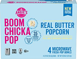 Angie's BOOMCHICKAPOP Real Butter Microwave Popcorn Fresh-Pop Bowls, (Each 4 Count of 3.29 oz Bags) 13.16 o...