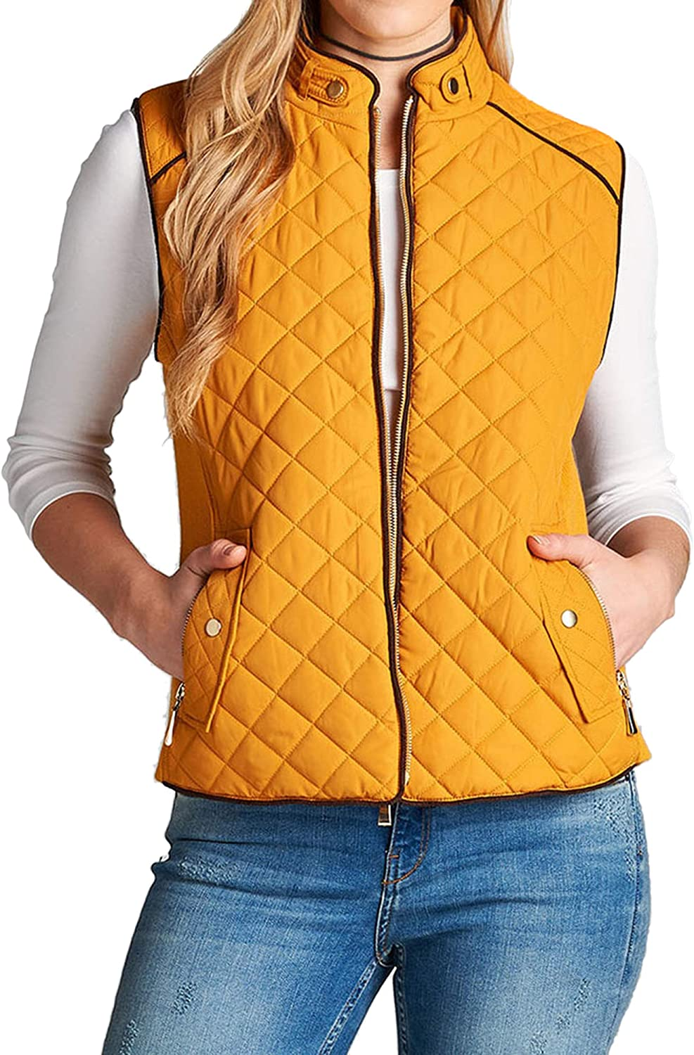 ACTIVE BASIC Women & Juniors Quilted Padding Lightweight Vest Jacket with Suede Pipping Details and Side Pockets