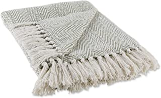 DII Herringbone Striped Collection Cotton Throw Blanket, 50x60, Artichoke