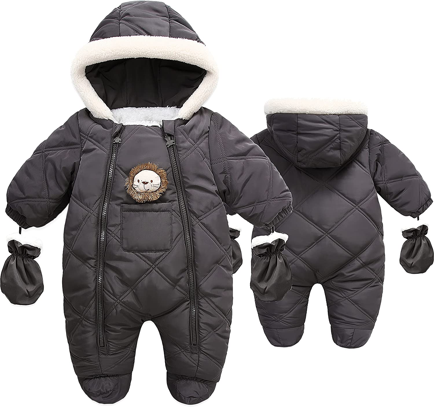 Baby Boy Girl Winter Puffer Warm Hooded Romper Down Coat with Mittens and Shoes
