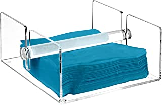 Modern Clear Acrylic Kitchen Napkin Holder Rack with Center Bar Weighted Arms - MyGift