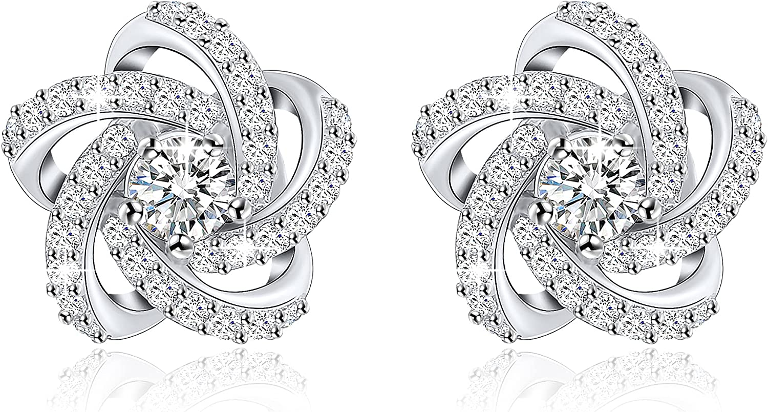 18K White Cheap sale Gold Choice Plated 925 Sterling Stud Flower Earrings f Silver