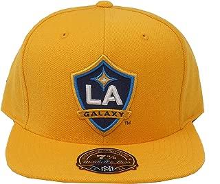 Mitchell & Ness Hat LA Galaxy MLS Soccer Hi Crown Gold Fitted Headwear Cap