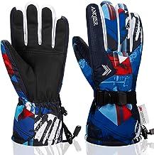 Anqier Ski Gloves,Waterproof Winter Gloves Snowboard Gloves 3M Thinsulate Warm Snow Snowmobile Gloves for Men Women Kids