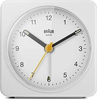 Braun klassisk analog väckarklocka med ljusfunktion och ljus, tyst kvartsurverk, crescendo-larm, vit modell BC03W