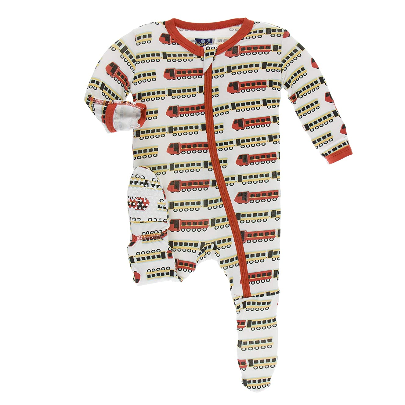 KicKee Pants Print Footie with Zipper in Natural Indian Train, 3-6 Months