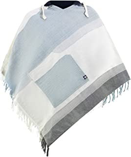 virblatt Poncho Messicano Mantello con Cappuccio Reversibile in Cotone Abbigliamento Etnico
