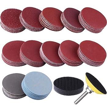 100PCS 3 Inch discos de lija para taladro Papel de lija de grano 80-3000 con placa de almohadilla de pulido abrasivo para herramientas rotativas de amoladora de taladro
