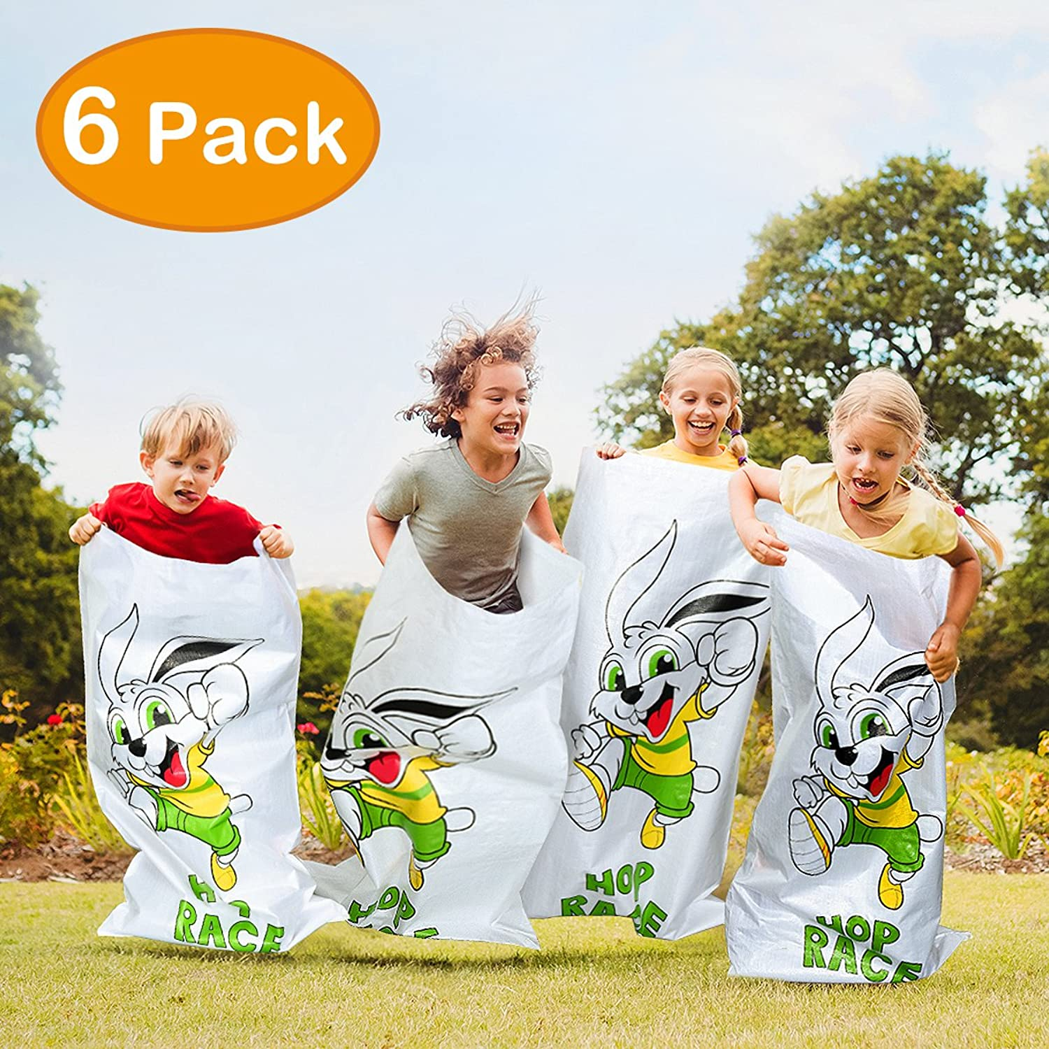 IBaseToy Easter Bag Birthday Party Games 6 Pcs Potato Sack Race Game 24 x41  Luau Hop Party Activity