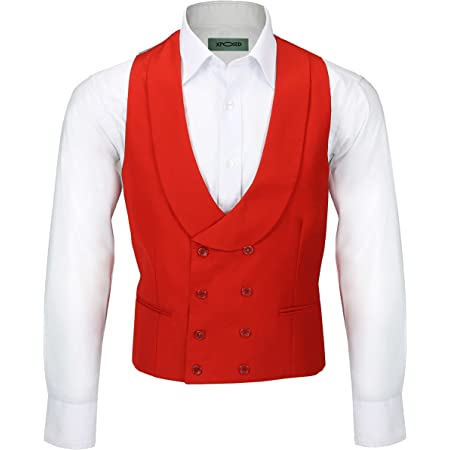 Xposed Men's Vintage Double Breasted Shawl Lapel Waistcoat Tailored Fit Smart Wedding Dress Tux Vest[CWC-2-318-289-RED,Chest UK 42 EU 52,Red]