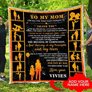 Personalized To My Mom I Love You Quilt Pattern Blanket Comforters with Reversible Cotton King Queen Full Twin Size Customized Christmas Quilted Birthday Presents Mommy Mother Gifts from Daughter